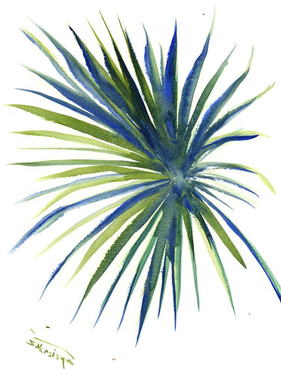 Palm Tree Leave, Tropical Foilage, original watercolor painting,12 x9  in, bright green emerland blue minimalist wall painting leave HAwaii