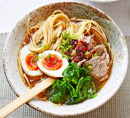 A steaming bowl of ramen noodle soup is a comforting Japanese classic - slowly simmer the bone broth for a rich depth of flavour