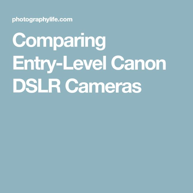 Comparing Entry-Level Canon DSLR Cameras