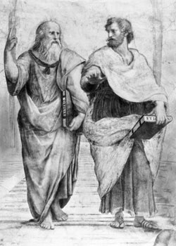 Aristotle (384-322 B.C.), shown here with his teacher, Plato (left), includes figures who were great intellectual innovators in various fields throughout history. Aristotle was a Greek philosopher and scientist whose writings covered a myriad of subjects, from physics to ethics. He was one of the founding figures of Western philosophy and personally tutored Alexander the Great.