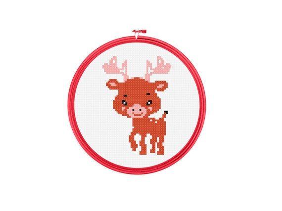 Baby Animal  Deer  Tiny Cross Stitch PDF Pattern by GreatHome