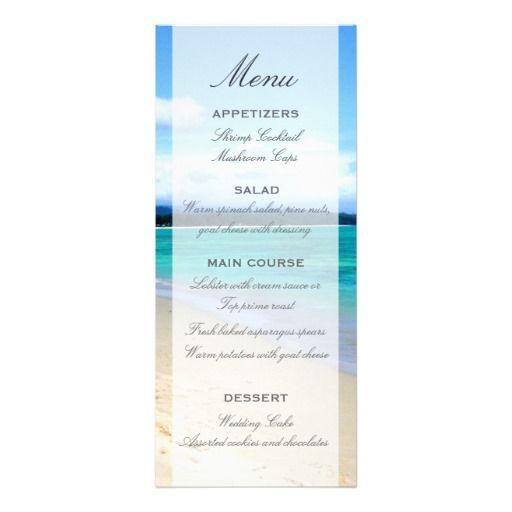 beach wedding menu template custom announcement