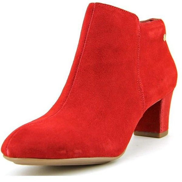 Hush Puppies Corie Imagery Women Dress Boots ($47) ❤ liked on Polyvore featuring shoes, boots, red, short suede boots, red suede shoes, ankle boots, faux-suede boots and red short boots