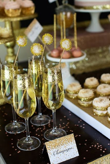 New Years Glitter Gold Champagne champagne flute drinks!