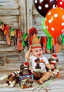 Sock Monkey Birthday Outfit by xoxoERICASCLOSETxoxo on Etsy