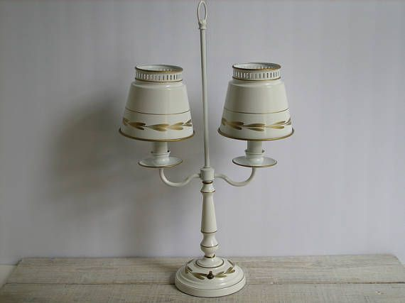 Vanity Light Wood Metal With Punched Tin Lamp Shades: Vintage Metal Toleware Double Lamp