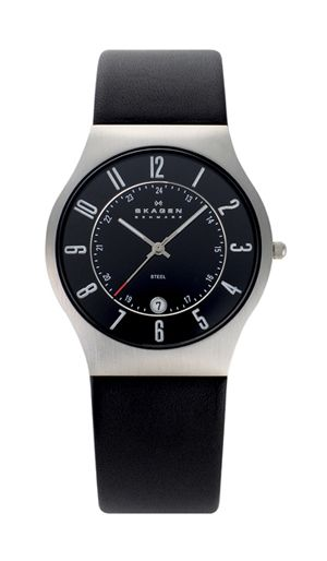 Strap Watch Black Watches Leather 37mm Stainless Dillards Mens
