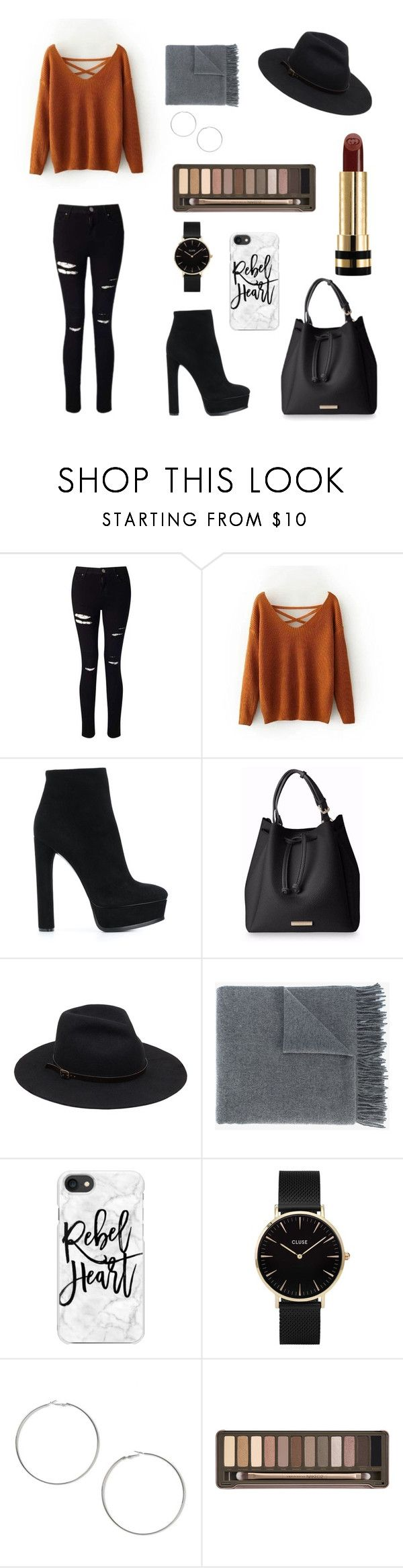 """Fall"" by louncresaux on Polyvore featuring mode, Miss Selfridge, Casadei, Acne Studios, Casetify, CLUSE, Urban Decay et Gucci"