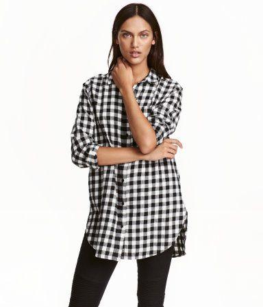 Long Flannel Shirt | Black/white/checked | Ladies | H&M US