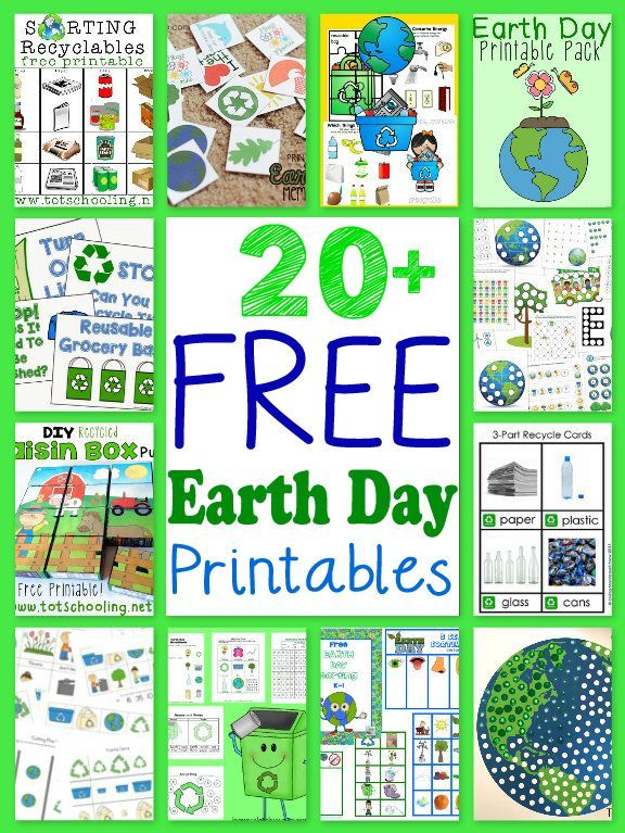 20+ Free Earth Day Printables for Kids including printable packs, recycling activities, puzzles and more!