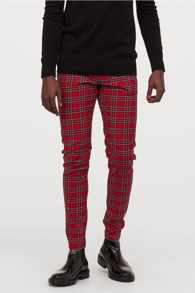Plaid Skinny Jeans for Men