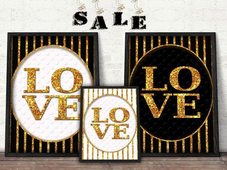 Gold, black and white Love Print