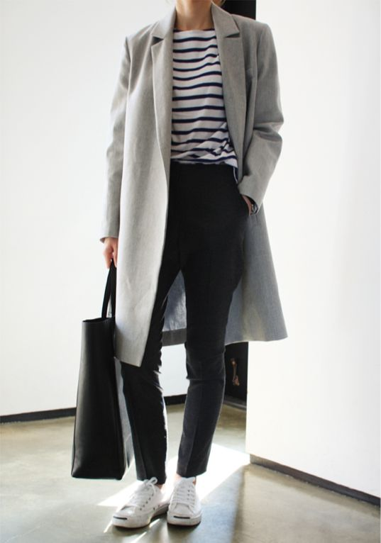 striped tee, black/grey bottoms, grey coat, white sneakers, black bag
