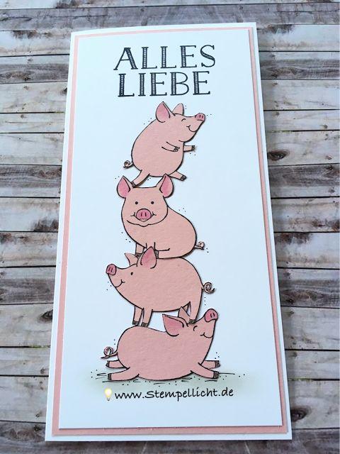 Glückwunschkarte mit Glücksschweinchen von Stampin´Up!