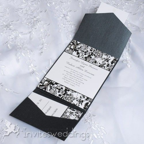 Elegant Gold Ribbon Floral Wedding Invitations Iwgy002