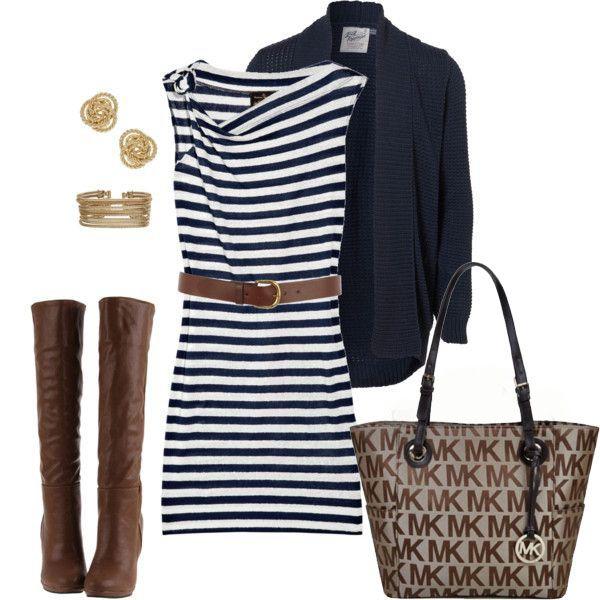 Have these pieces, navy stripe dress, blazer & boots