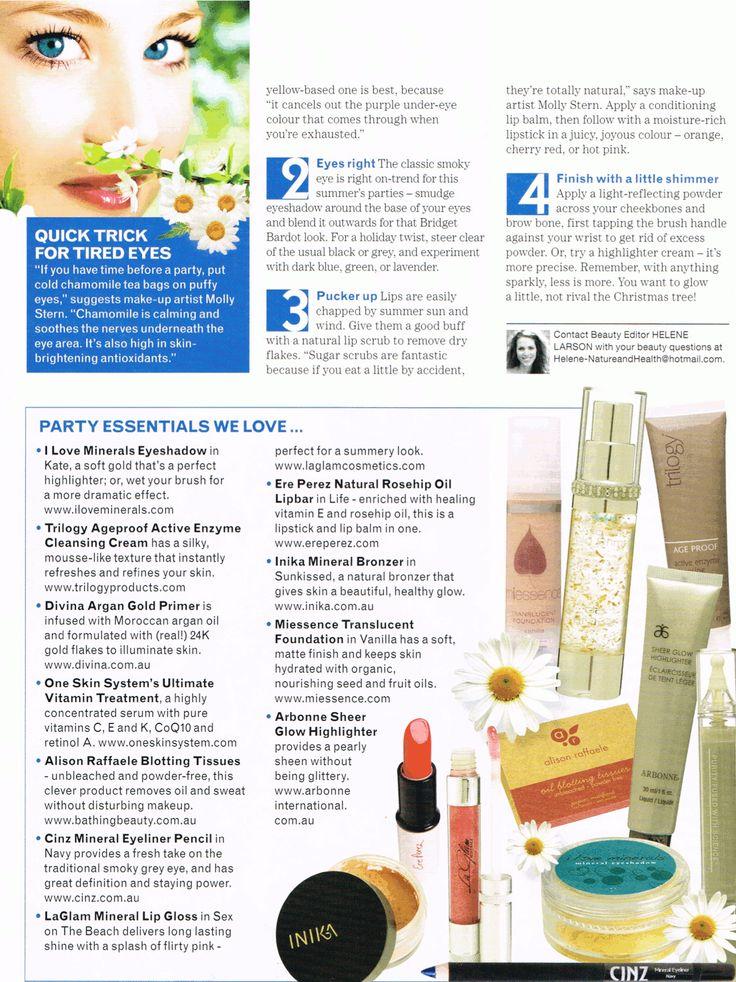 #Miessence Vanilla Translucent Foundation was featured in Nature & Health Magazine Summer 2012 edition