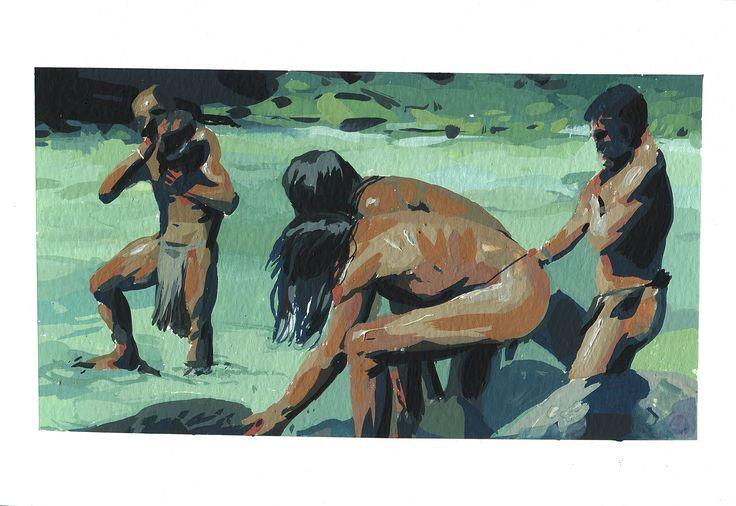 Gouache painting sketchbook study