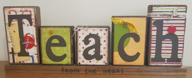Teach Wood Blocks (alternative, personalize with teachers name), Handmade Gifts for Teachers