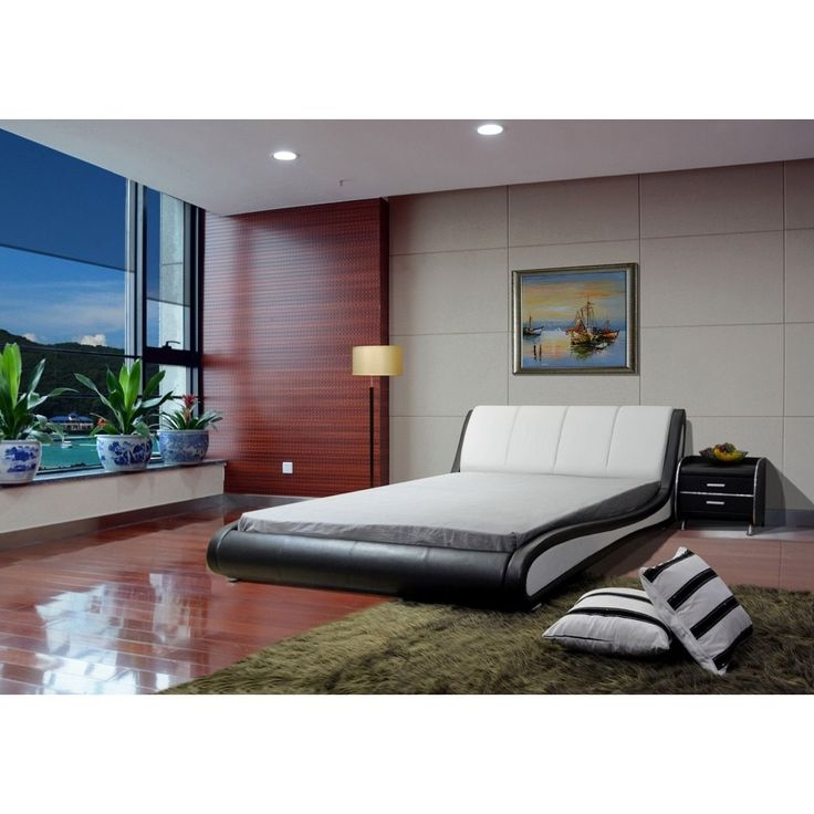 Greatime and White Contemporary Platform Bed