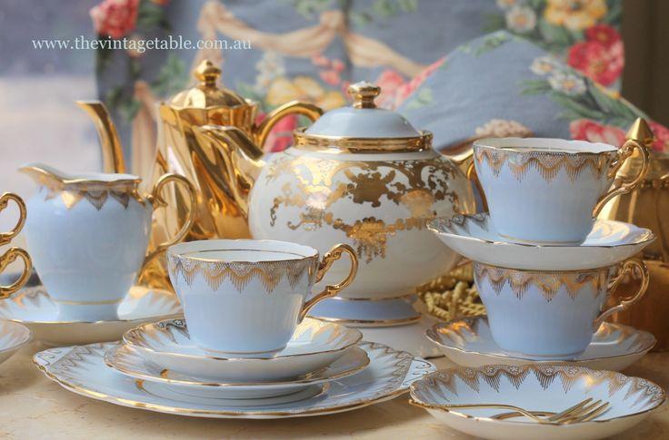 Gilded Powder Blue Vintage Tea Set & Teapot