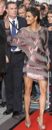 Who made Halle Berry's brown sequin dress and pumps that she wore to launch her fragrance in Germany on September 30, 2010?