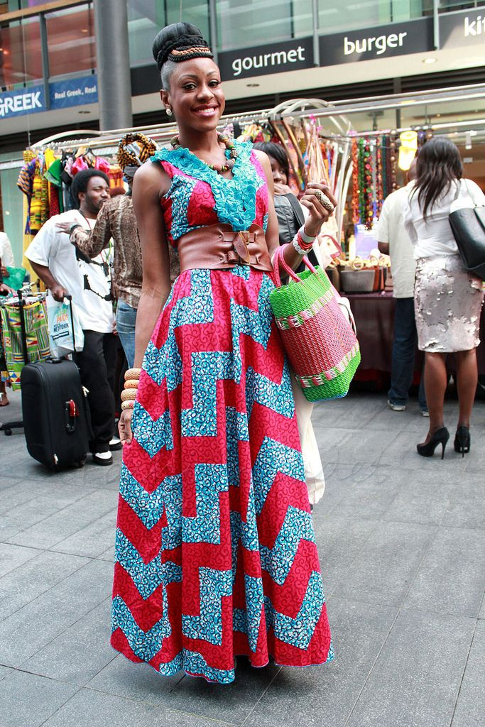 Styles for 39 ankara 39 chevron v neck ankara maxi dress African fashion designs pictures