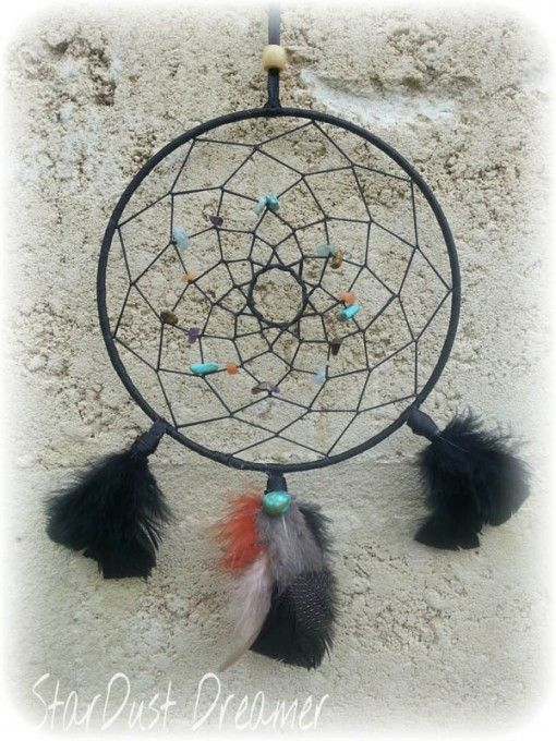 Ebony Weaver Traditional Dream catcher wrapped in black ribbon, and stunning crystal chips weaved in sinew.