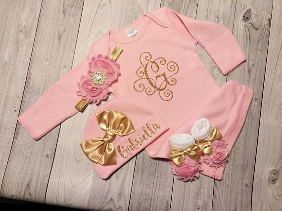 SALE, Baby Girl Coming Home Outfit, Baby, Clothes, Personalized, Newborn Girl, Outfit, Name, Take Home, Newborn Baby, Baby, Gown, Layette