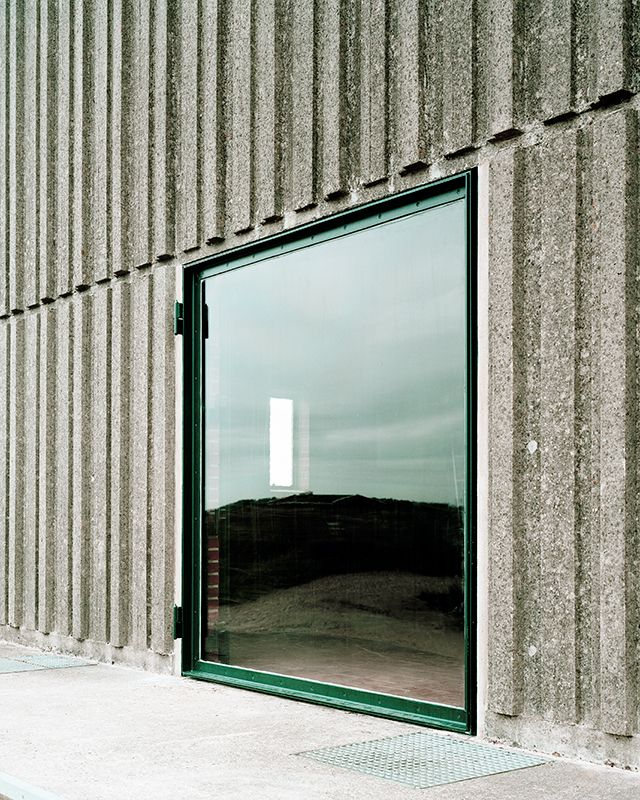 I like this window/door at a disused Brutalist pump stations along Denmark's Skjern River, brought back to life as public spaces by Johansen Skovsted Arkitekter
