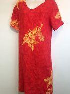 la cera red floral hawaiian dress Size L #Hawaiian #hawaii #muumuu #floraldress #hawaiiandress
