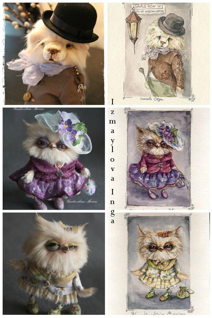 bears dolls toys watercolor postcards Принимаю заказы - портреты ваших любимцев акварелью