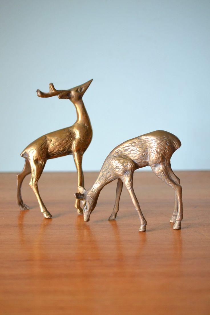 Vintage Brass deer figurines stags figures - Funky Flamingo