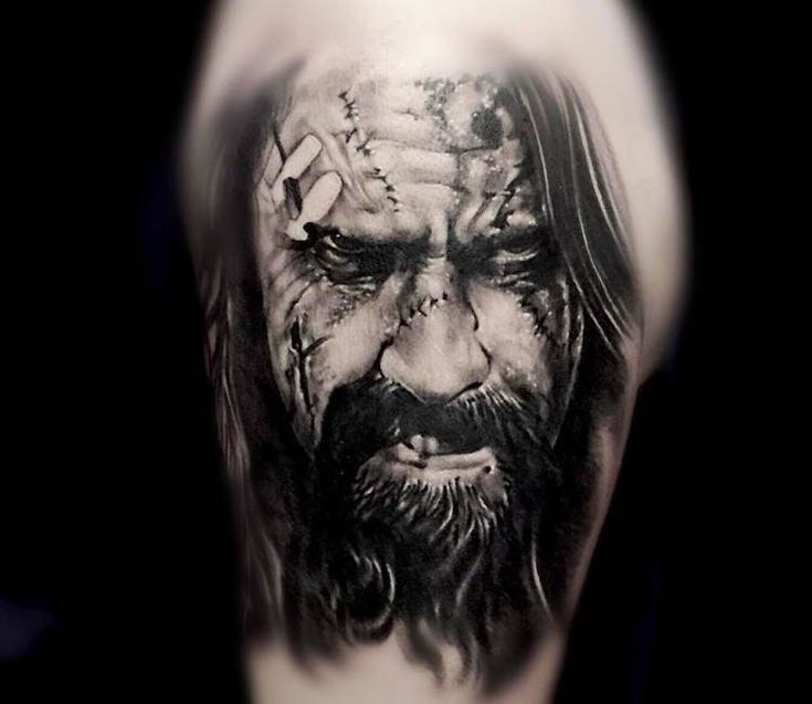 Rob Zombie Face tattoo by Kris Busching