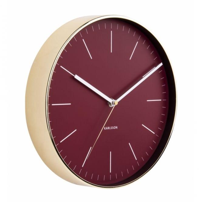 Karlsson Minimal Burgundy Red Wall Clock - Gold Case
