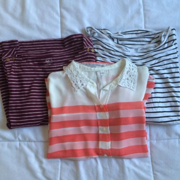Stripped Shirt Bundle Three fun stripped shirts perfect for layering and dressing up! 1) sheer button down coral stripped shirt by Lauren Conrad in a size Large. Fun color for spring with an adorable lace collar 2) maroon and white stripped sailor shirt by J. Crew in a size XL. 3/4 sleeves with a boat neck and cute nautical buttons 3) off the shoulder black and white stripped slouchy top by H&M. Size Large, 3/4 sleeves, long and slouchy perfect for layered looks! J. Crew Tops