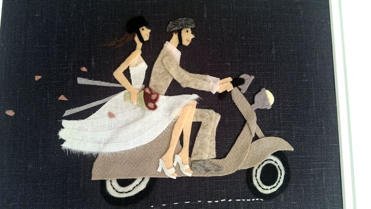 Bespoke Gift made by sew in the moment posted on blog sew-in-the-moment.ollis.id.au ... wedding invitation image turned into an appliqued picture
