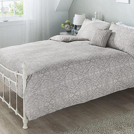 George Home Grey Damask Duvet Set