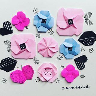 お花、花*花(*^^*) #origami #illustration #papercraft #paperflower #leaf #butterfly #お花 #葉っぱ #ちょうちょ #折り紙 #おりがみ #イラスト #ペーパークラフト #ピンク