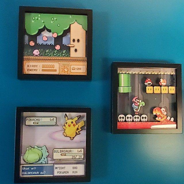 Mario And Luigi Shadowbox Super Mario Bros 3 Nes Decor Pokemon