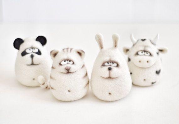 Naald vilten dieren - kerst cadeau - Gevilte dieren - Panda - koe - Bunny - kat - handgemaakt speelgoed - naald vilten - vilt speelgoed - voor haar