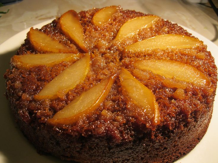 Upside Down Pear and Toffee Cake