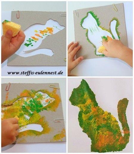 basteln mit kindern, schwammtechnik, katze, basteln, malen, tupfen, Garten und erstellen