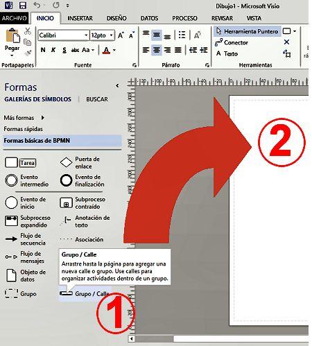 Insertar una forma básica para crear un esquema en Visio
