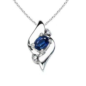 Angara Round Natural Sapphire Necklace in 14k White Gold oeo32
