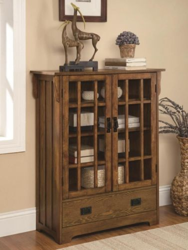 Mission Style Warm Brown Finish Wood Curio Glass Front Cabinet With Shelves  And Flat Top. This Cabinet Features A Rectangular Shape To Fit In That  Empty ...