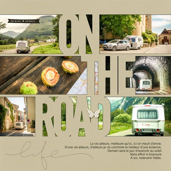 .#papercraft #scrapbook #layout. Digital: On the road.