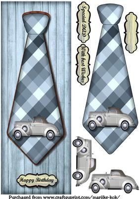 Large DL male card Vintage Car Tie on Craftsuprint designed by Marijke Kok - Great male card with vintage tie