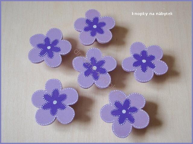 NÁBYTKOVÉ ÚCHYTKY | nábytkové úchytky -fialové | Dřevěné výrobky z Markétiny dílničky