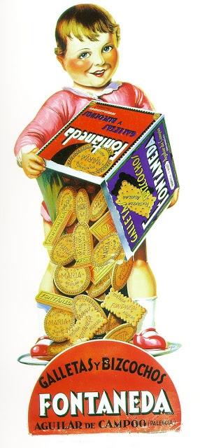 ¡Qué buenas son, las galletas Fontaneda! Imagen comercial. A través de la imagen de un niño con una caja de galletas y bizcochos de Fontaneda, nos intentan vender el producto.